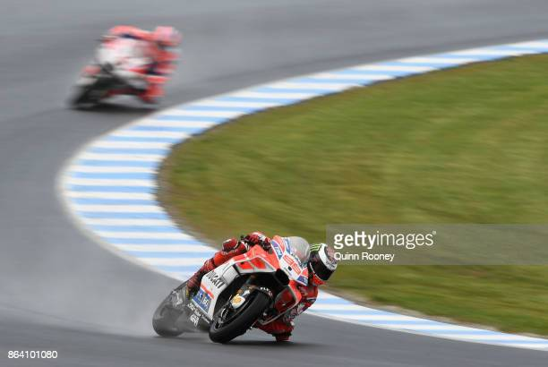 Jorge Lorenzo rides the DUCATI TEAM Ducatiduring practise ahead of qualifying for the 2017 MotoGP of Australia at Phillip Island Grand Prix Circuit...