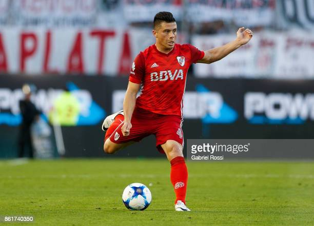 Jorge Luis Moreira of River Plate drives the ball during a match between River Plate and Atletico de Tucuman as part of Superliga 2017/18 at...