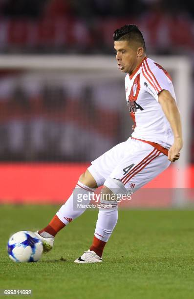 Jorge Luis Moreira of River Plate kicks the ball during a match between River Plate and Aldosivi as part of Torneo Primera Division 2016/17 at...
