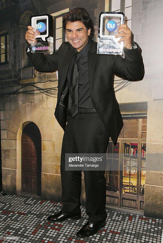 Jorge Luis Pila poses backstage at Telemundo's Premios Tu Mundo Awards at American Airlines Arena on August 15, 2013 in Miami, Florida.