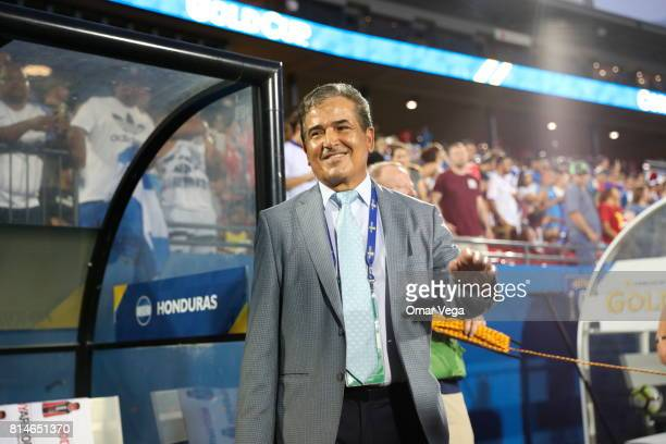 Jorge Luis Pinto coach of Honduras looks on prior to the CONCACAF Gold Cup Group A match between Canada and Honduras at Toyota Stadium on July 14...