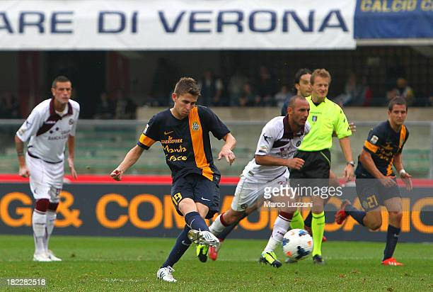 Jorge Luiz Filho Frello Jorginho of Hellas Verona FC scores his goal from the penalty spot during the Serie A match between Hellas Verona FC and AS...