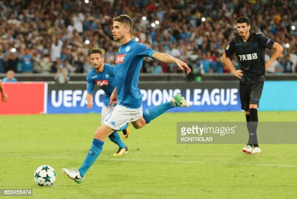 Jorge Luiz Frello Filho midfielder Napoli strikes the penalty during the match between SSC Napoli and OGC Nice to qualify for the playoffs of the...
