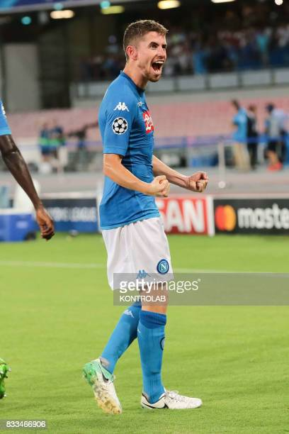 Jorge Luiz Frello Filho midfielder of Napoli celebrates a goal during the match between SSC Napoli and OGC Nice to qualify for the playoffs of the...