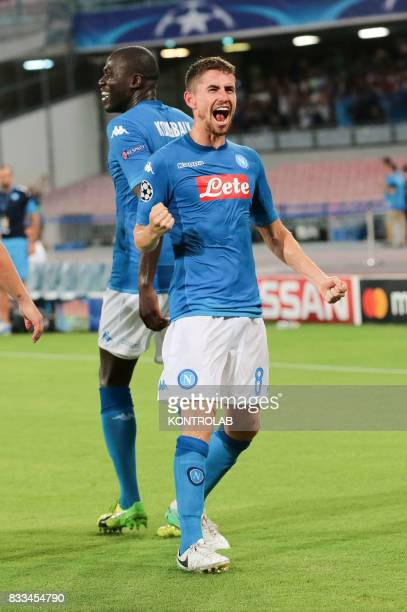 Jorge Luiz Frello Filho midfielder of Napoli exults for the goal during the match between SSC Napoli and OGC Nice to qualify for the playoffs of the...