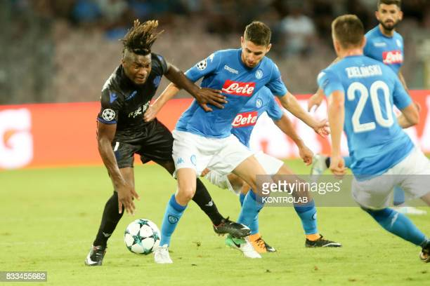 Jorge Luiz Frello Filho Naples midfielder and Allan SaintMaximin striker in Nice during the match between SSC Napoli and OGC Nice for qualifying for...