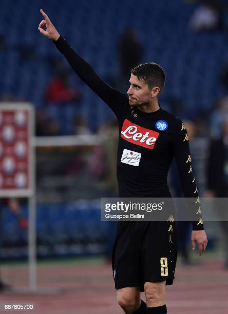 Jorge Luiz Frello Jorginho of SSC Napoli celebrates the victory after the Serie A match between SS Lazio and SSC Napoli at Stadio Olimpico on April 9...