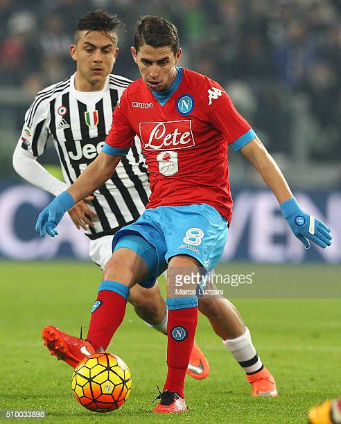 Jorge Luiz Frello Jorginho of SSC Napoli is challenged by Paulo Dybala of Juventus FC during the Serie A match between and Juventus FC and SSC Napoli...