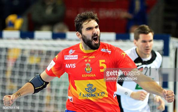 Jorge Maqueda of Spain celebrates after scoring a goal against Germany during their group C match of the Men's EHF European Handball Championships...