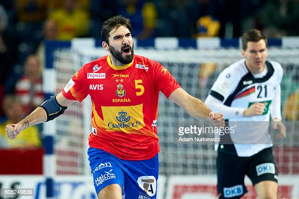 Jorge Maqueda of Spain celebrates after scoring during the Men's EHF Handball European Championship 2016 match between Spain and Germany at Centenial...