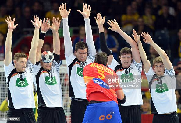 Jorge Maqueda of Spain throws the ball during the group C match Spain vs Germany of the Men's EHF European Handball Championships 2016 on January 16...