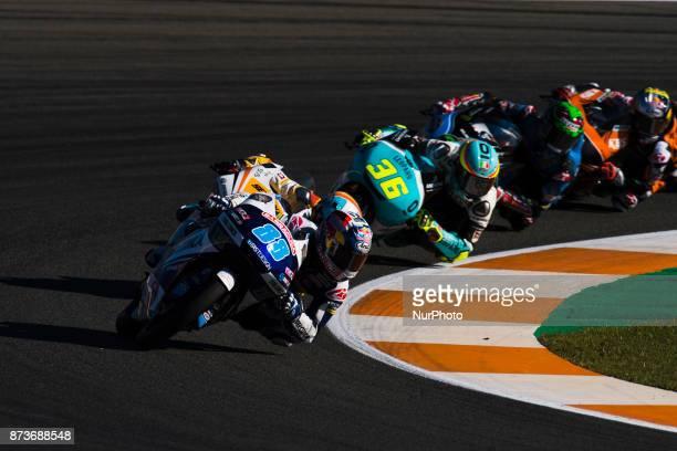 Jorge Martin Del Conca Gresini Moto3 Honda #36 Joan Mir Leopard Racing Honda during the race day of the Gran Premio Motul de la Comunitat Valenciana...