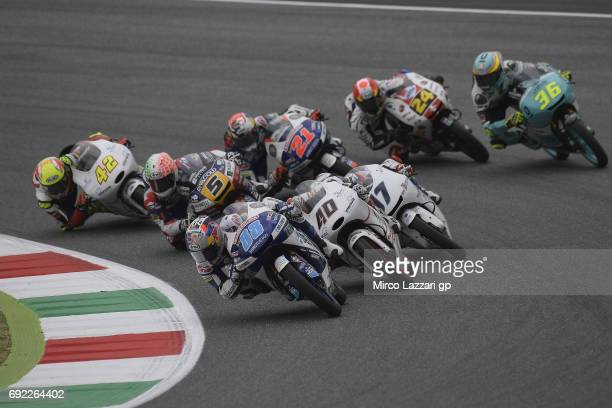 Jorge Martin of Spain and Del Conca Gresini Moto3 leads the field during the Moto3 race during the MotoGp of Italy Race at Mugello Circuit on June 4...