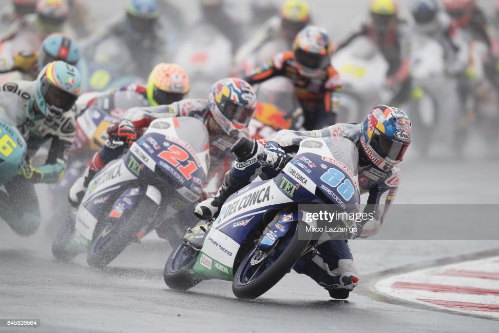 Jorge Martin of Spain and Del Conca Gresini Moto3 leads the field during the Moto3 Race during the MotoGP of San Marino - Race at Misano World Circuit on September 10, 2017 in Misano Adriatico, Italy.
