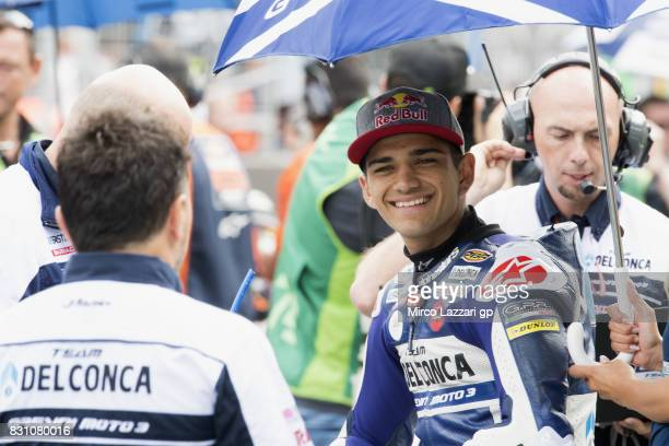 Jorge Martin of Spain and Del Conca Gresini Moto3 prepares to start on the grid during the Moto3 race during the MotoGp of Austria Race at Red Bull...