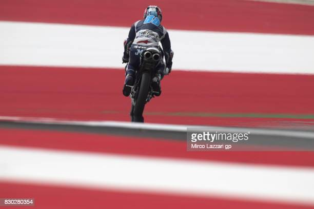 Jorge Martin of Spain and Del Conca Gresini Moto3 rounds the bend during the MotoGp of Austria Free Practice at Red Bull Ring on August 11 2017 in...