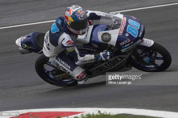 Jorge Martin of Spain and Del Conca Gresini Moto3 rounds the bend during the MotoGp of Austria Qualifying at Red Bull Ring on August 12 2017 in...