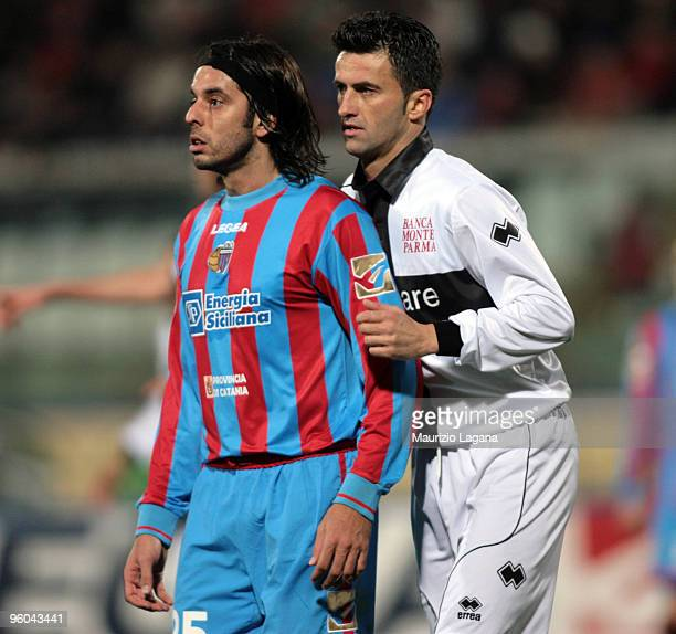 Jorge Martinez of Catania Calcio competes with Cristian Panucci of Parma FC during the Serie A match between Catania and Parma at Stadio Angelo...