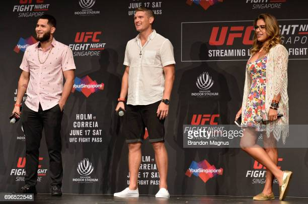 Jorge Masvidal Stephen Thompson and Julianna Pena listen to the fans during the UFC Fight Night QA at the Marina Bay Sands on June 16 2017 in...