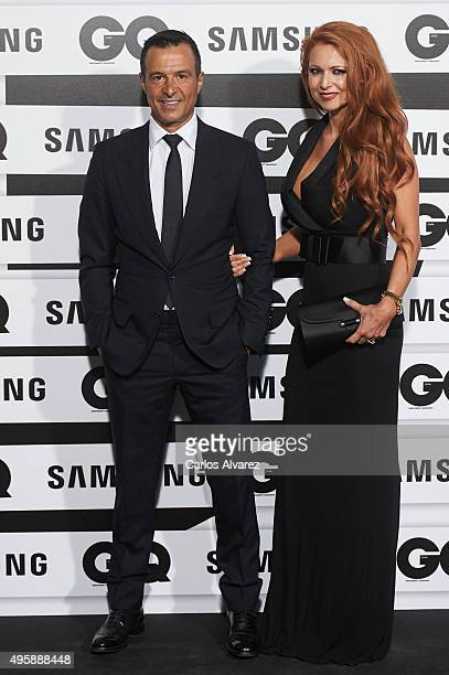 Jorge Mendes and wife Sandra Mendes attend the GQ Men of The Year 2015 Awards at the Palace Hotel on November 5 2015 in Madrid Spain