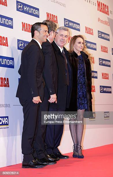 Jorge Mendes Carlo Ancelotti and his wife Mariann Barrena attend Marca Awards 2016 on February 8 2016 in Madrid Spain