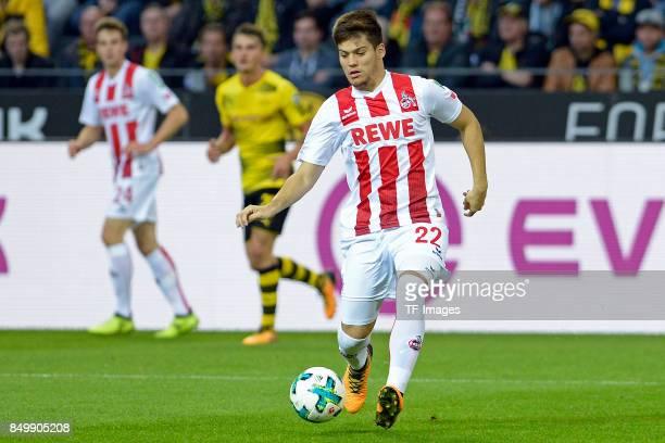 Jorge Meré of Koeln controls the ball during the Bundesliga match between Borussia Dortmund and 1 FC Koeln at the Signal Iduna Park on September 17...