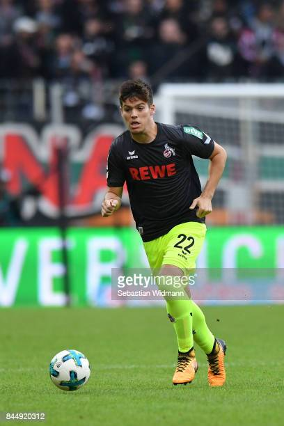 Jorge Mere of Koeln plays the ball during the Bundesliga match between FC Augsburg and 1 FC Koeln at WWKArena on September 9 2017 in Augsburg Germany