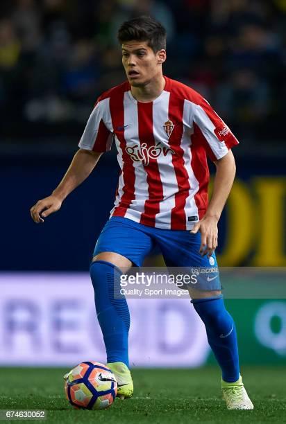 Jorge Mere of Real Sporting de Gijon in action during the La Liga match between Villarreal CF and Real Sporting de Gijon at Estadio de la Ceramica on...