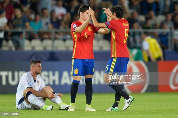 Jorge Mere of Spain and Jesus Vallejo of Spain celebrate after the UEFA European Under21 Championship Semi Final match between Spain and Italy at...