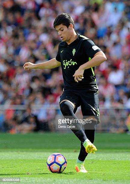 Jorge Mere of Sporting Gijon in action during the La Liga match between Club Atletico de Madrid and Real Sporting de Gijon at Vicente Calderon...