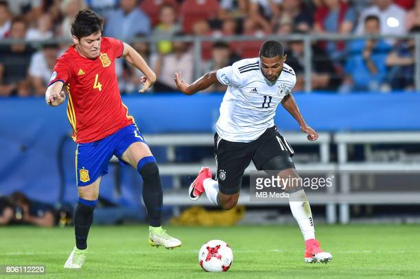 Jorge Mere Serge Gnabry during the UEFA European Under21 final match between Germany and Spain on June 30 2017 in Krakow Poland
