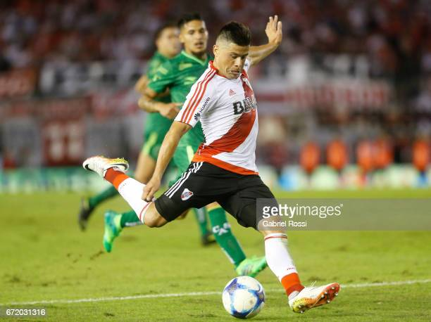 Jorge Moreira of River Plate kicks the ball during a match between River Plate and Sarmiento as part of Torneo Primera Division 2016/17 at Monumental...
