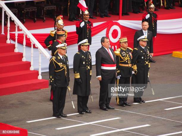 Jorge Nieto Montesinos Minister of Defense at Military parade commemorating 196th anniversary of Peruvian independence