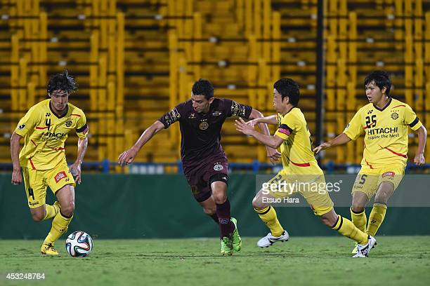 Jorge Ortiz of Lanus in action during the Suruga Bank Championships 2014 match between Kashiwa Reysol and Lanus at Hitachi Kashiwa Soccer Stadium on...