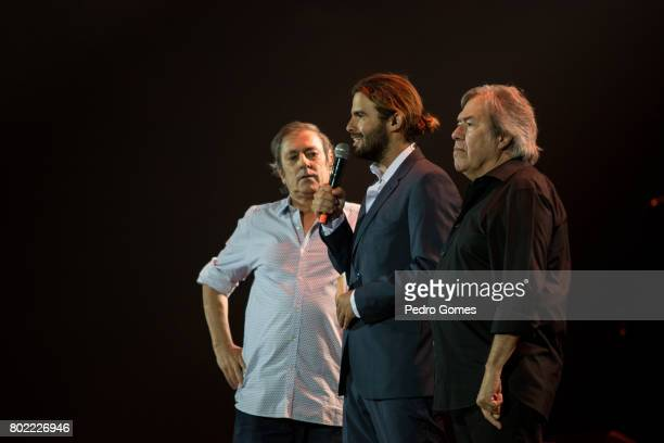 Jorge Palma show host Joao Manzarra and Sergio Godinho during Juntos por Todos solidarity concert for the victims of the forest fires in the Pedrogao...