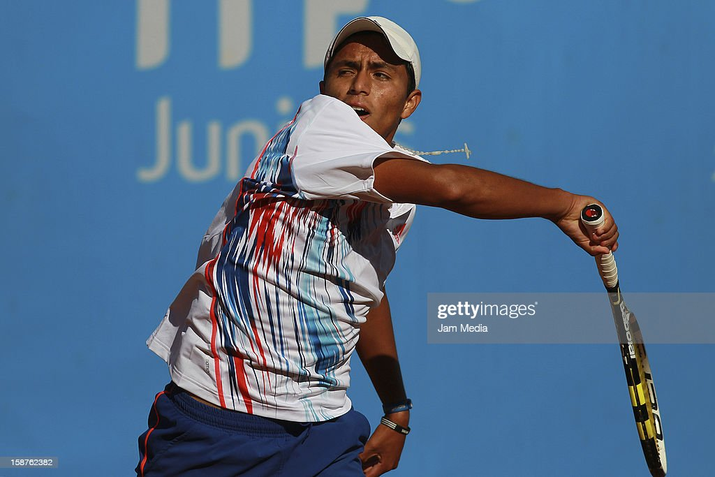 Jorge Panta of Peru in action during the Mexican Youth Tennis Open at Deportivo Chapultepec on December 27, 2012 in Mexico City, Mexico.