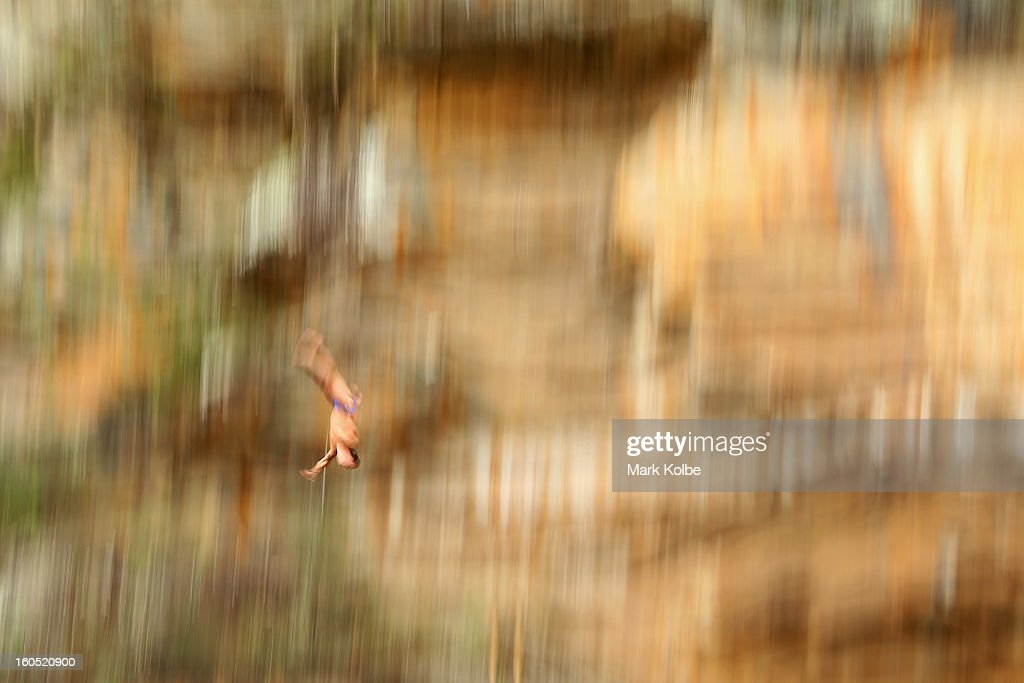 Jorge Paredes of Mexico competes during the Red Bull Cliff Diving qualifying round in the Hawkesbury River on February 2, 2013 in Sydney, Australia.