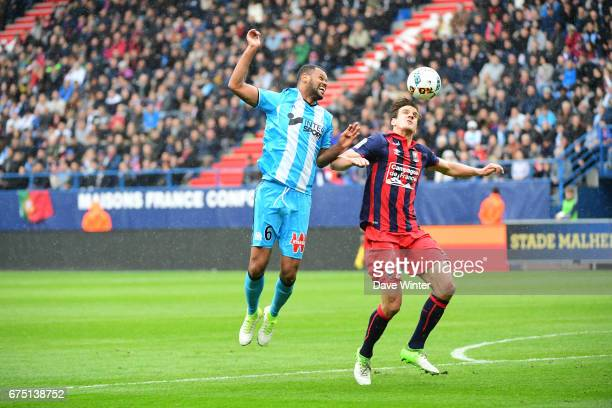 Jorge Pires Da Fonseca Rolando of Marseille and Ivan Santini of Caen during the French Ligue 1 match between Caen and Marseille at Stade Michel...