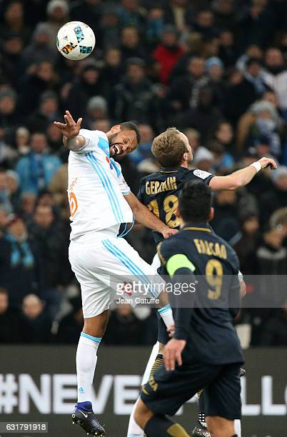Jorge Pires Da Fonseca Rolando of OM and Valere Germain of Monaco in action during the French Ligue 1 match between Olympique de Marseille and AS...