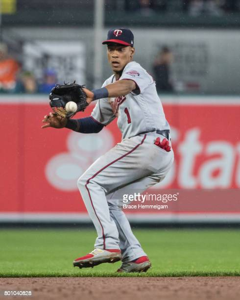 Jorge Polanco of the Minnesota Twins fields against the Baltimore Orioles on May 23 2017 at Oriole Park at Camden Yards in Baltimore Maryland The...