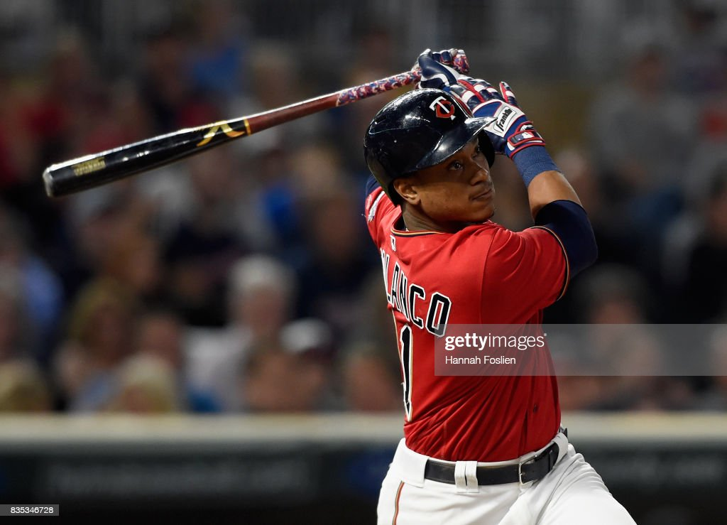Jorge Polanco #11 of the Minnesota Twins hits an RBI single against the Arizona Diamondbacks during the sixth inning of the game on August 18, 2017 at Target Field in Minneapolis, Minnesota. The Twins defeated the Diamondbacks 10-3.