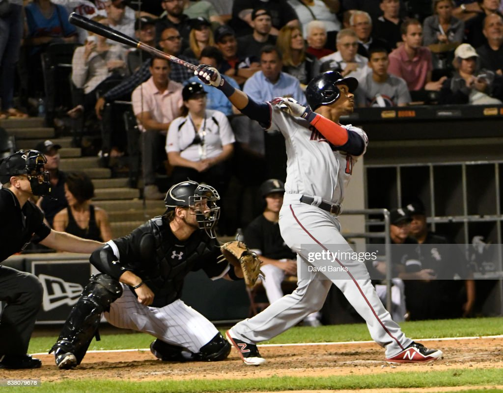 Jorge Polanco #11 of the Minnesota Twins hits an RBI single against the Chicago White Sox during the sixth inning on August 23, 2017 at Guaranteed Rate Field in Chicago, Illinois.