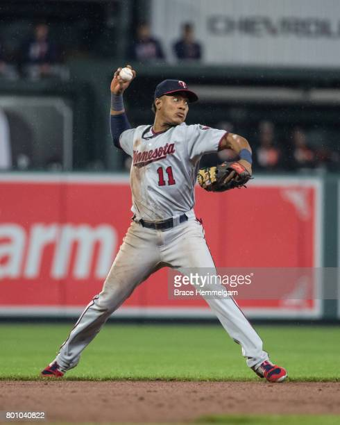 Jorge Polanco of the Minnesota Twins throws against the Baltimore Orioles on May 23 2017 at Oriole Park at Camden Yards in Baltimore Maryland The...