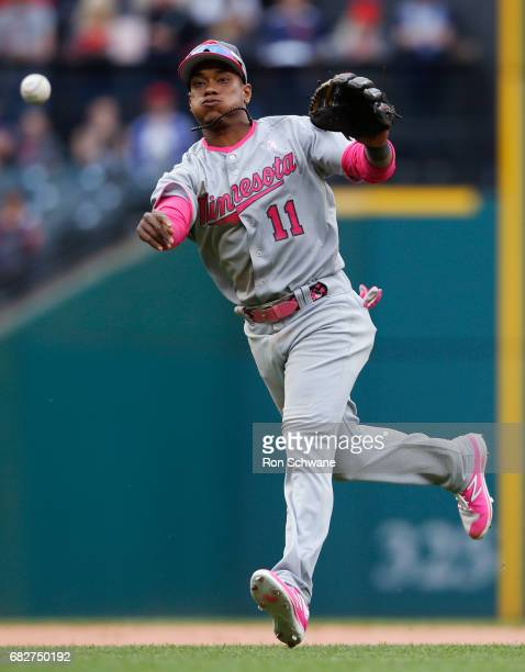 Jorge Polanco of the Minnesota Twins throws out Yan Gomes of the Cleveland Indians at first base during the eighth inning at Progressive Field on May...