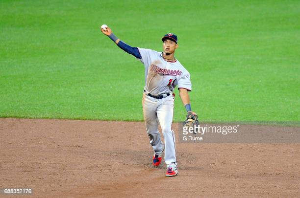 Jorge Polanco of the Minnesota Twins throws the ball to first base against the Baltimore Orioles at Oriole Park at Camden Yards on May 23 2017 in...