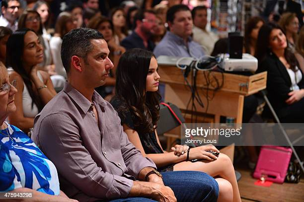 Jorge Posada and daughter Paulina Posada attend wife Laura Posada book signing 'La dieta mental' at Books and BooksGables on June 4 2015 in Coral...