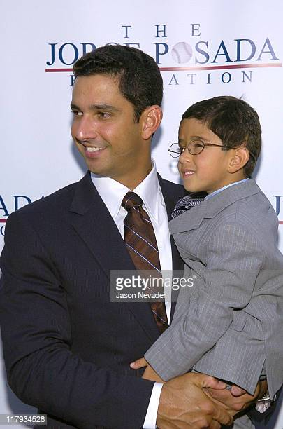 Jorge Posada and Jorge Posada Jr during First Annual 'Heroes for Hope' Gala and Benefit at Capitale in New York City New York United States