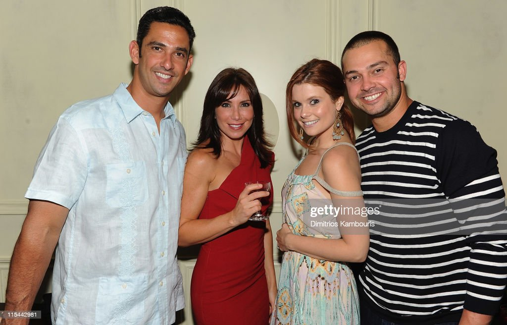Jorge Posada Laura Posada Joanna Garcia and Nick Swisher attend the Cinco Anillos Sangria launch to benefit The Jorge Posada Foundation at The...