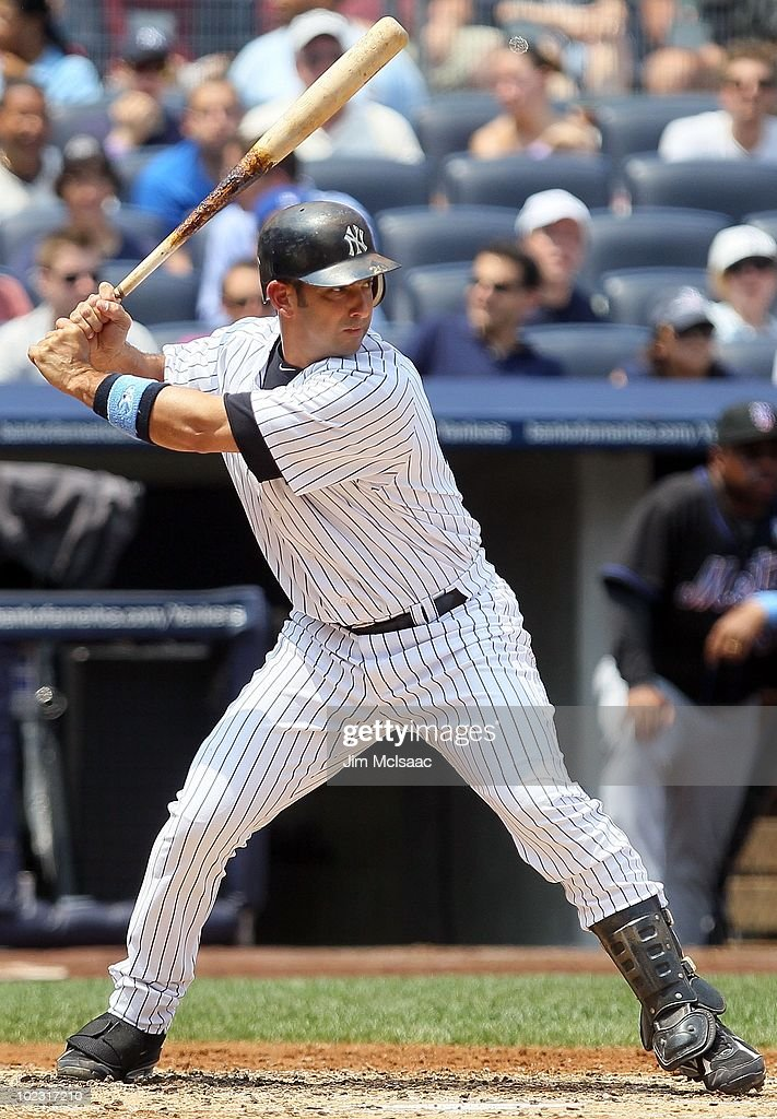 <a gi-track='captionPersonalityLinkClicked' href=/galleries/search?phrase=Jorge+Posada&family=editorial&specificpeople=202157 ng-click='$event.stopPropagation()'>Jorge Posada</a> #20 of the New York Yankees bats against the New York Mets on June 20, 2010 at Yankee Stadium in the Bronx borough of New York City.