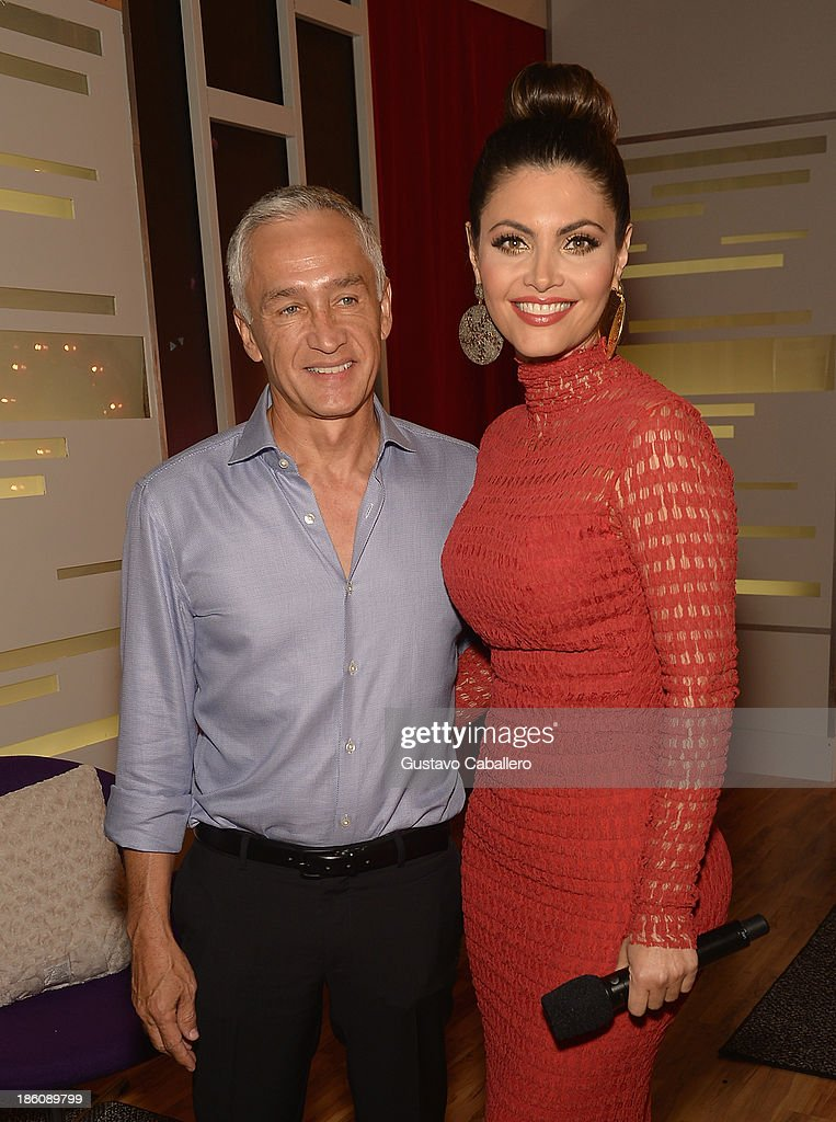 Jorge Ramos and <a gi-track='captionPersonalityLinkClicked' href=/galleries/search?phrase=Chiquinquira+Delgado&family=editorial&specificpeople=7185197 ng-click='$event.stopPropagation()'>Chiquinquira Delgado</a> attends the set of 'Mira Quien Baila' at Univision Headquarters on October 27, 2013 in Miami, Florida.
